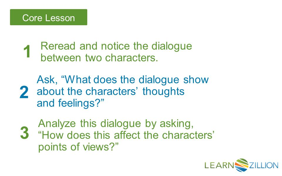 "Core Lesson Reread and notice the dialogue between two characters. 1 2 Ask, ""What does the dialogue show about the characters' thoughts and feelings?"""