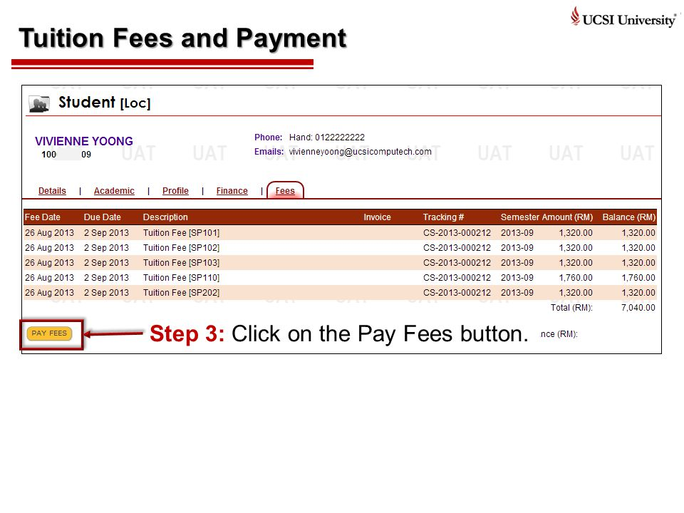 Tuition Fees and Payment Step 3: Click on the Pay Fees button.