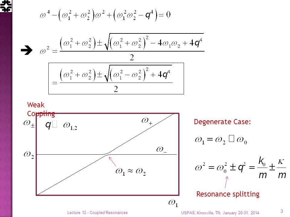 USPAS, Knoxville, TN, January 20-31, 2014 Lecture 12 - Coupled Resonances 3 Weak Coupling Degenerate Case: Resonance splitting 