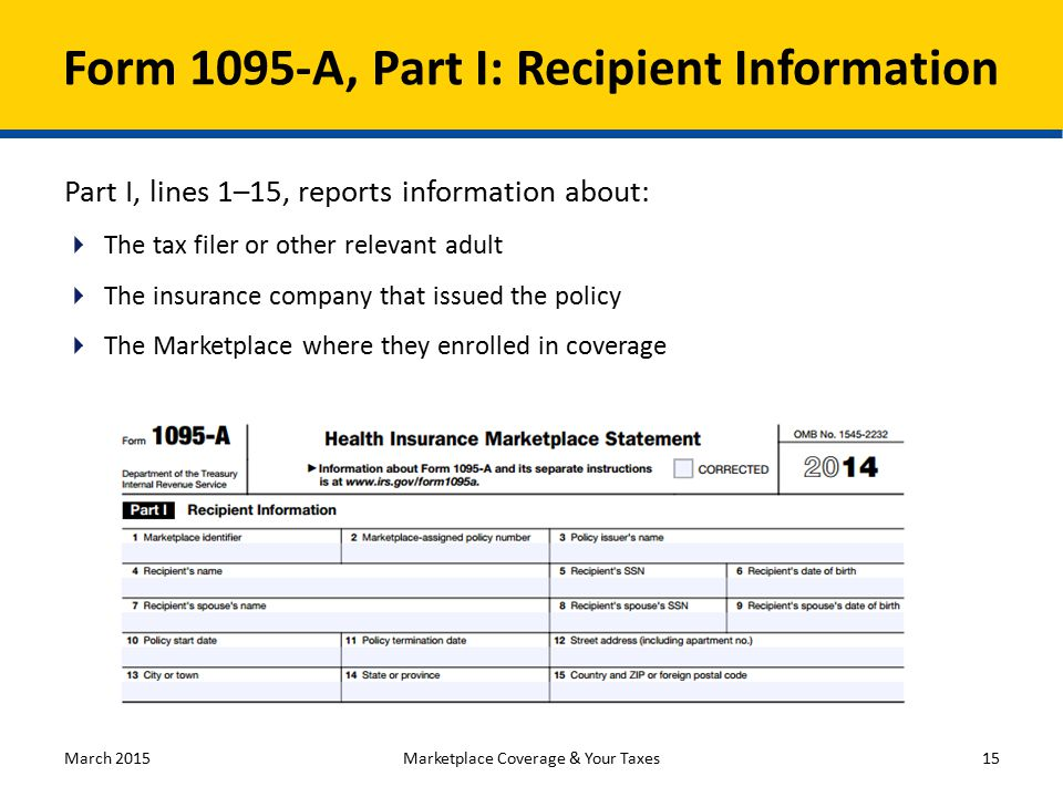 Form 1095-A, Part I: Recipient Information Part I, lines 1–15, reports information about:  The tax filer or other relevant adult  The insurance company that issued the policy  The Marketplace where they enrolled in coverage March 2015Marketplace Coverage & Your Taxes15