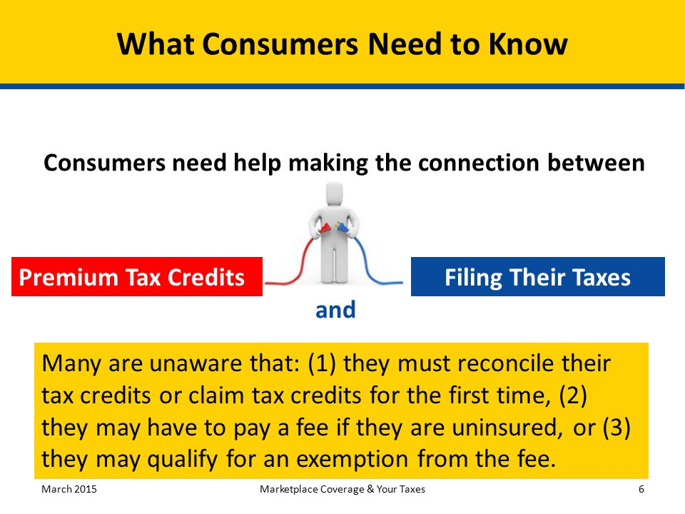 What Consumers Need to Know Premium Tax Credits Consumers need help making the connection between Filing Their Taxes and Many are unaware that: (1) th