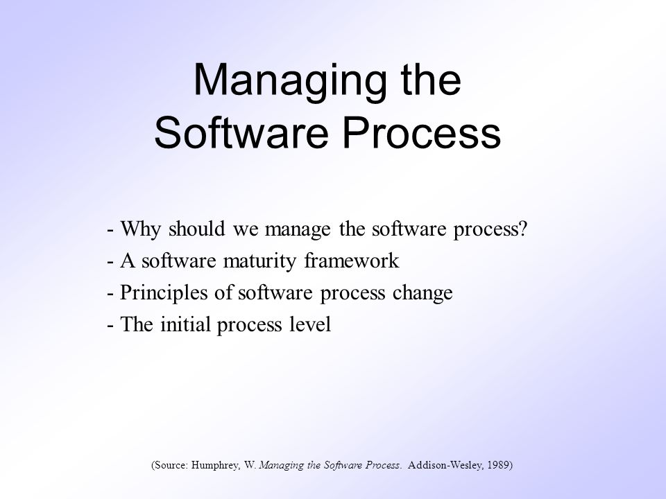 12 Background Software process encompasses the set of tools, methods, and practices used to produce a software product Objectives (done simultaneously) –Produce products according to plan –Improve the organization s capability to produce better products Basic principles: Statistical process control and predictable performance The foundation of statistical control is measurement