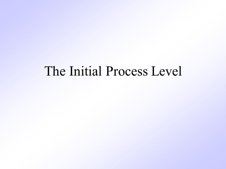 The Initial Process Level