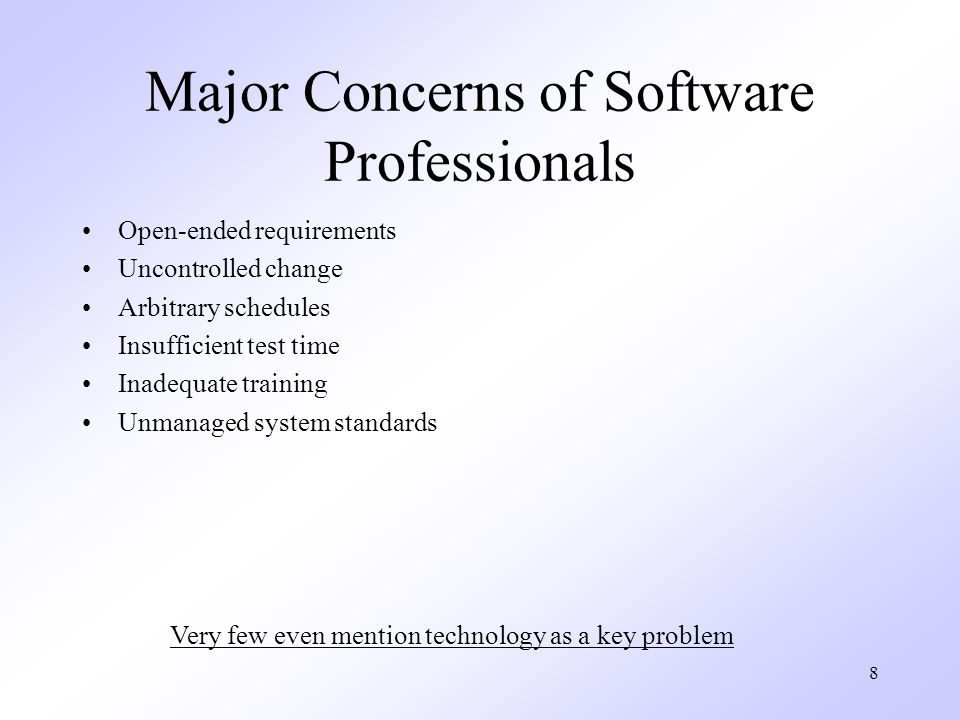 9 Limiting Factors in using Software Technology Poorly-defined process Inconsistent implementation Poor process management