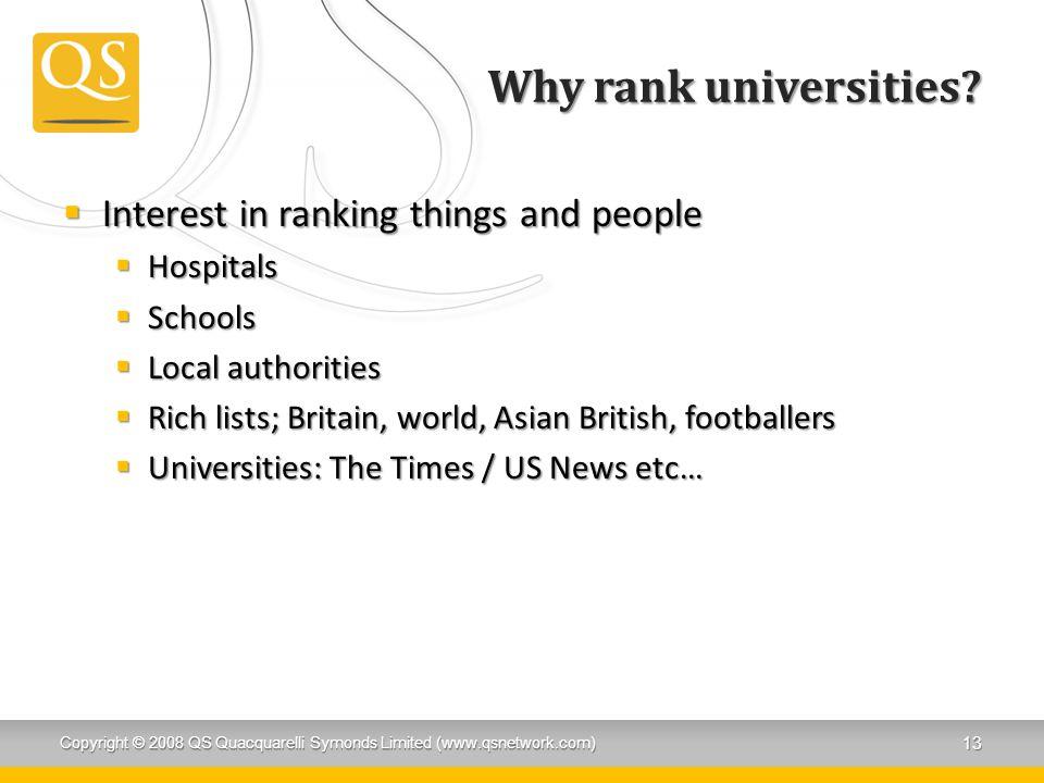 Why rank universities.