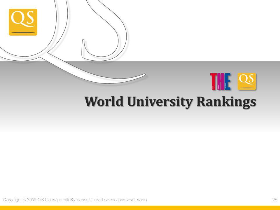 World University Rankings Copyright © 2008 QS Quacquarelli Symonds Limited (www.qsnetwork.com) 25