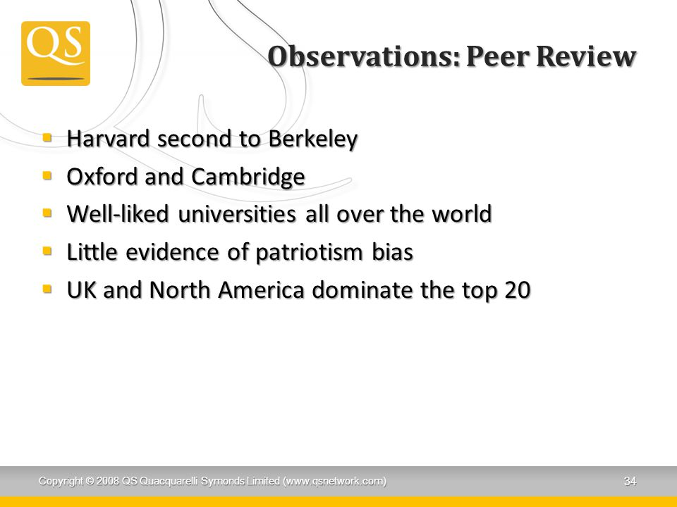 Observations: Peer Review  Harvard second to Berkeley  Oxford and Cambridge  Well-liked universities all over the world  Little evidence of patriotism bias  UK and North America dominate the top 20 Copyright © 2008 QS Quacquarelli Symonds Limited (www.qsnetwork.com) 34