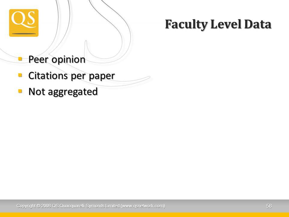 Faculty Level Data  Peer opinion  Citations per paper  Not aggregated Copyright © 2008 QS Quacquarelli Symonds Limited (www.qsnetwork.com) 58