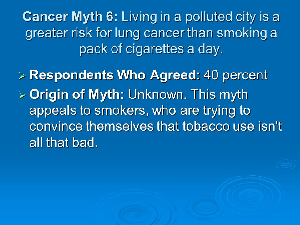Cancer Myth 6: Living in a polluted city is a greater risk for lung cancer than smoking a pack of cigarettes a day.