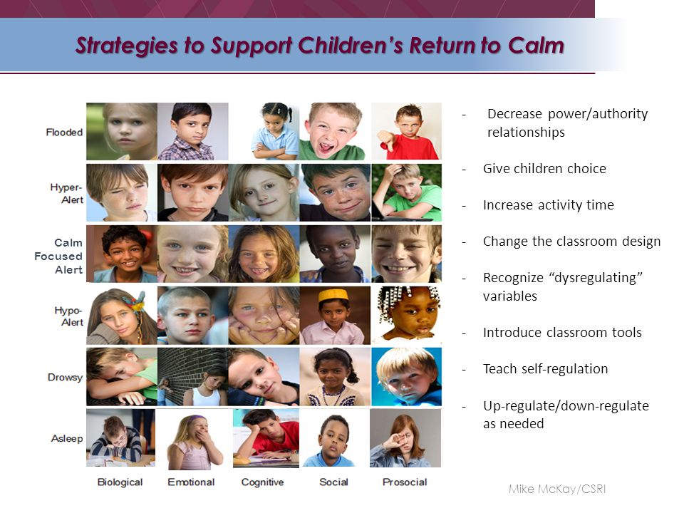 Calm Focused Alert Strategies to Support Children's Return to Calm -Decrease power/authority relationships -Give children choice -Increase activity time -Change the classroom design -Recognize dysregulating variables -Introduce classroom tools -Teach self-regulation -Up-regulate/down-regulate as needed Mike McKay/CSRI