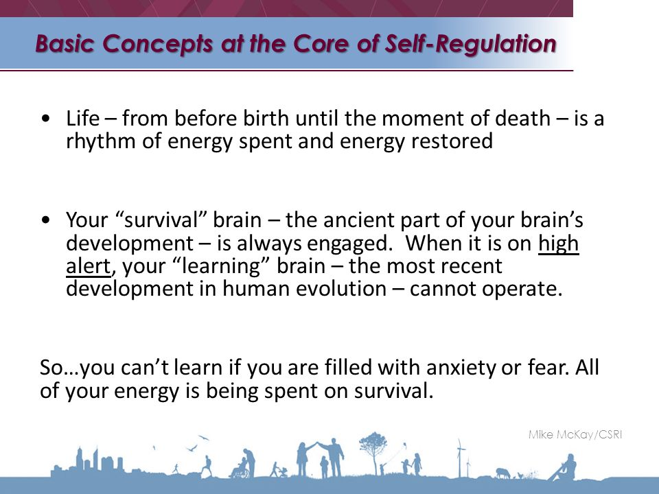 Life – from before birth until the moment of death – is a rhythm of energy spent and energy restored Your survival brain – the ancient part of your brain's development – is always engaged.