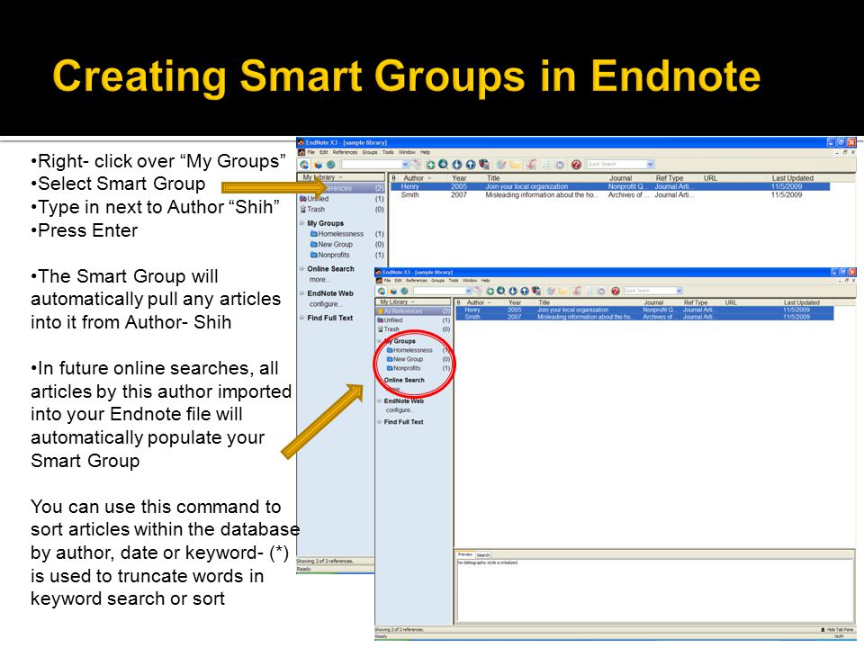 "Right- click over ""My Groups"" Select Smart Group Type in next to Author ""Shih"" Press Enter The Smart Group will automatically pull any articles into i"