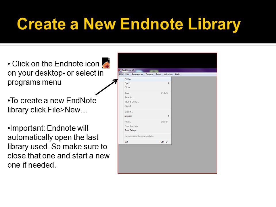 Select an appropriate folder Name your new library Click Save Type name of Endnote Library here Click this icon until you see the folder where you would like to store your Endnote Library