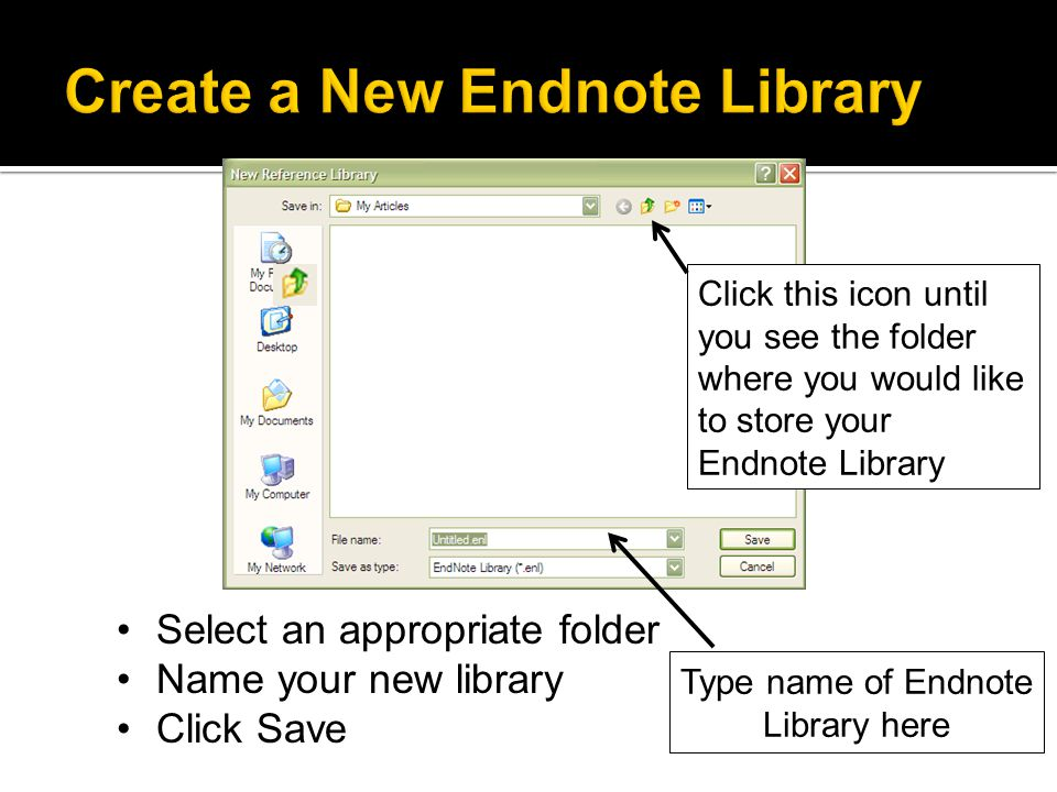 Important: Once a library is created it creates an associated data file which stores all the citation info & PDFs Don't move or rename one without moving the other or your library won't open!