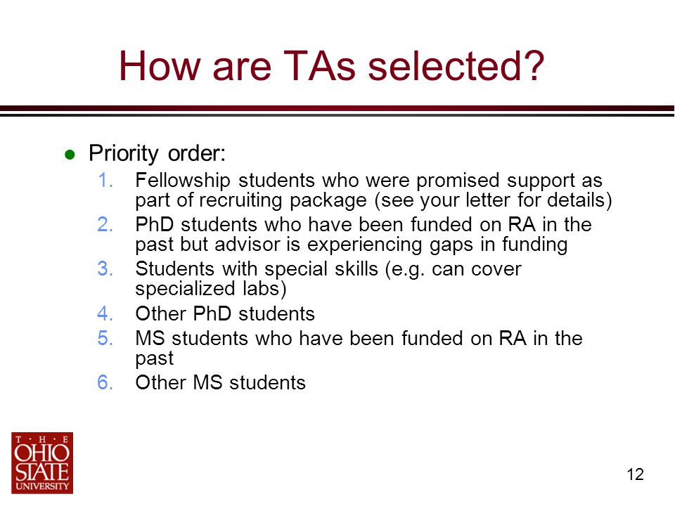 12 How are TAs selected.
