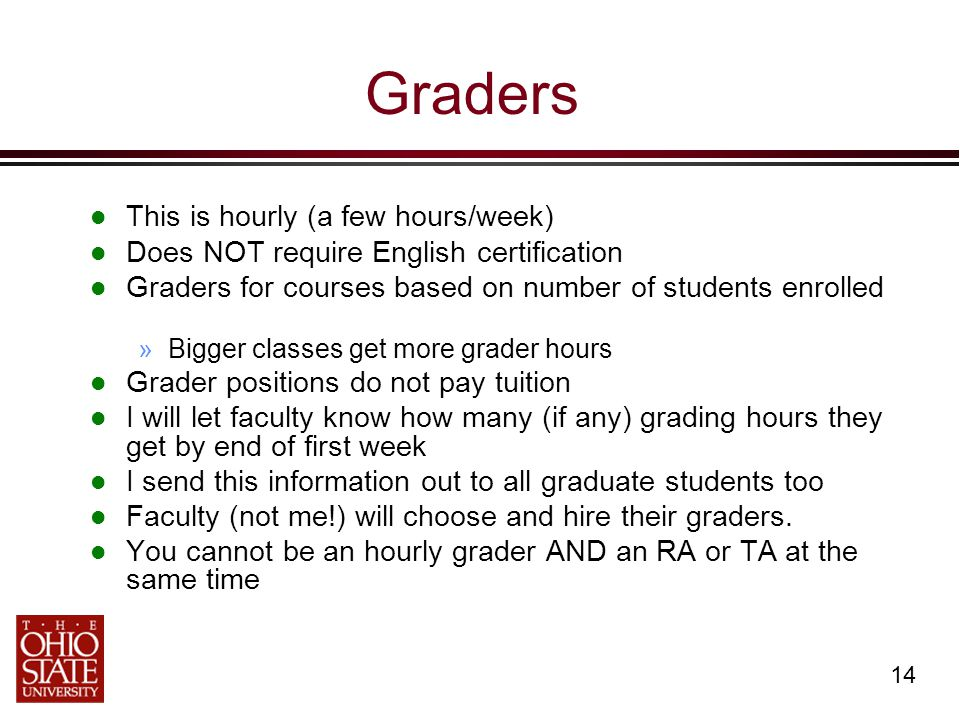 14 Graders This is hourly (a few hours/week) Does NOT require English certification Graders for courses based on number of students enrolled »Bigger classes get more grader hours Grader positions do not pay tuition I will let faculty know how many (if any) grading hours they get by end of first week I send this information out to all graduate students too Faculty (not me!) will choose and hire their graders.