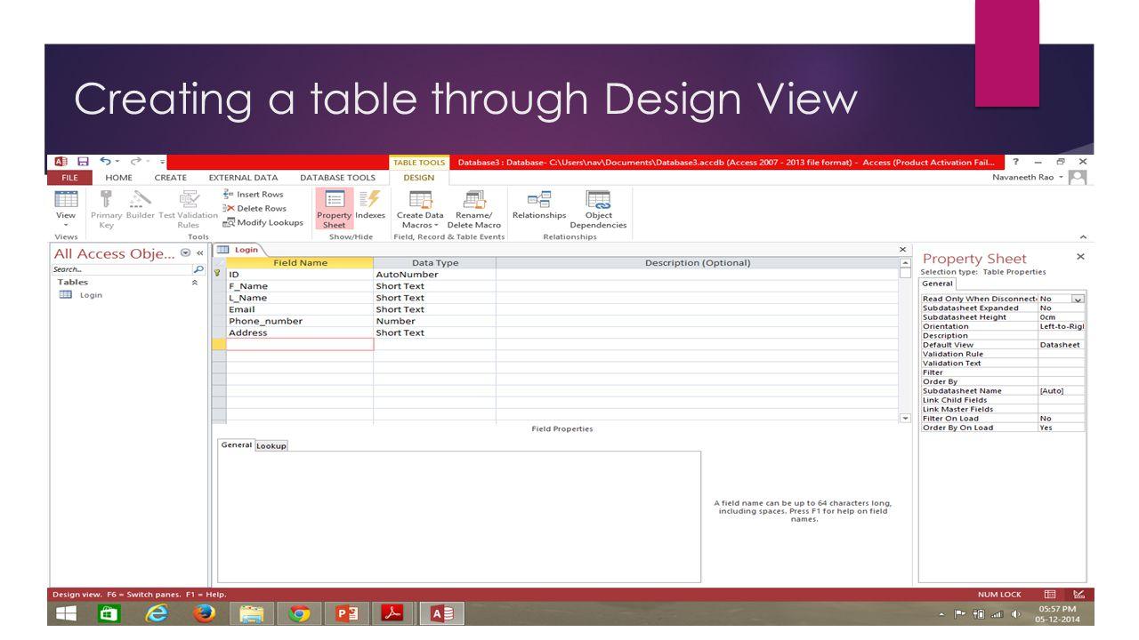 Creating a table through Design View