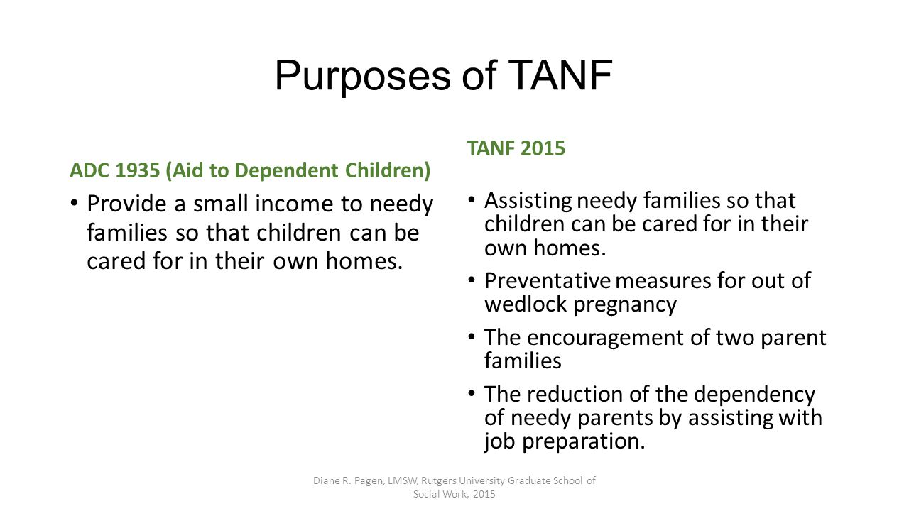 Purposes of TANF ADC 1935 (Aid to Dependent Children) Provide a small income to needy families so that children can be cared for in their own homes. T