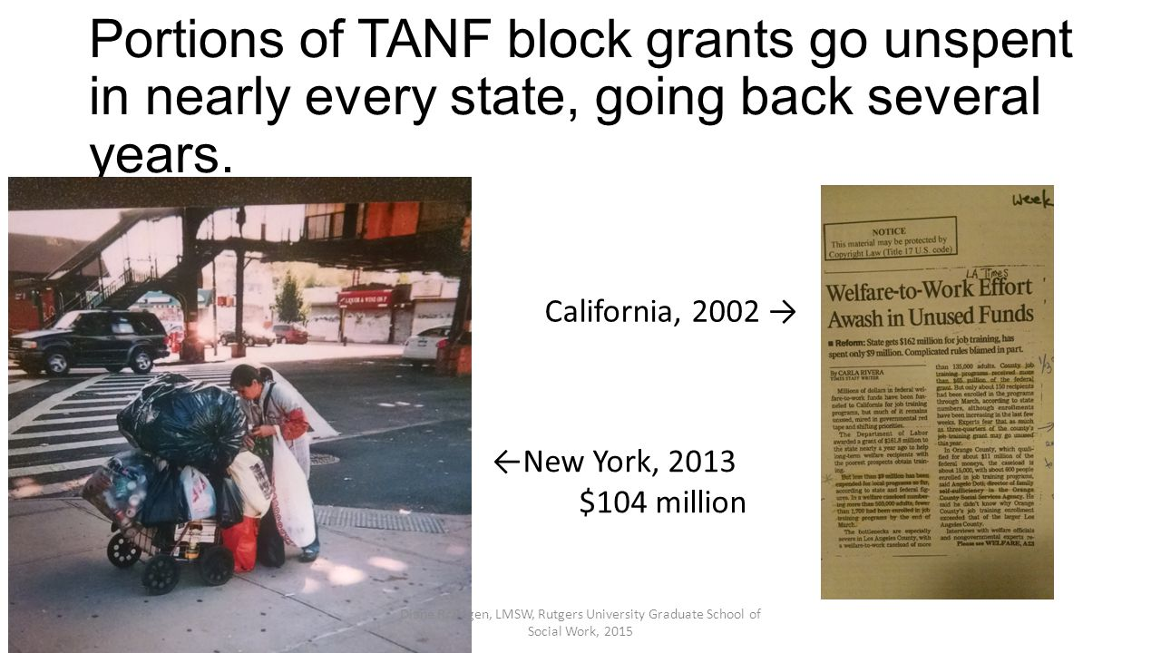 Portions of TANF block grants go unspent in nearly every state, going back several years. California, 2002 → ←New York, 2013 $104 million Diane R. Pag