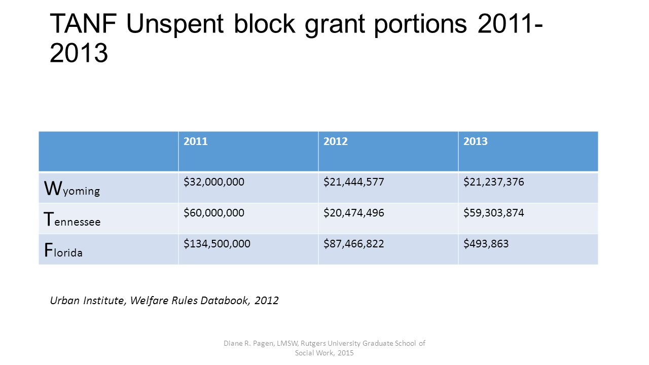 TANF Unspent block grant portions 2011- 2013 201120122013 W yoming $32,000,000$21,444,577$21,237,376 T ennessee $60,000,000$20,474,496$59,303,874 F lorida $134,500,000$87,466,822$493,863 Urban Institute, Welfare Rules Databook, 2012 Diane R.