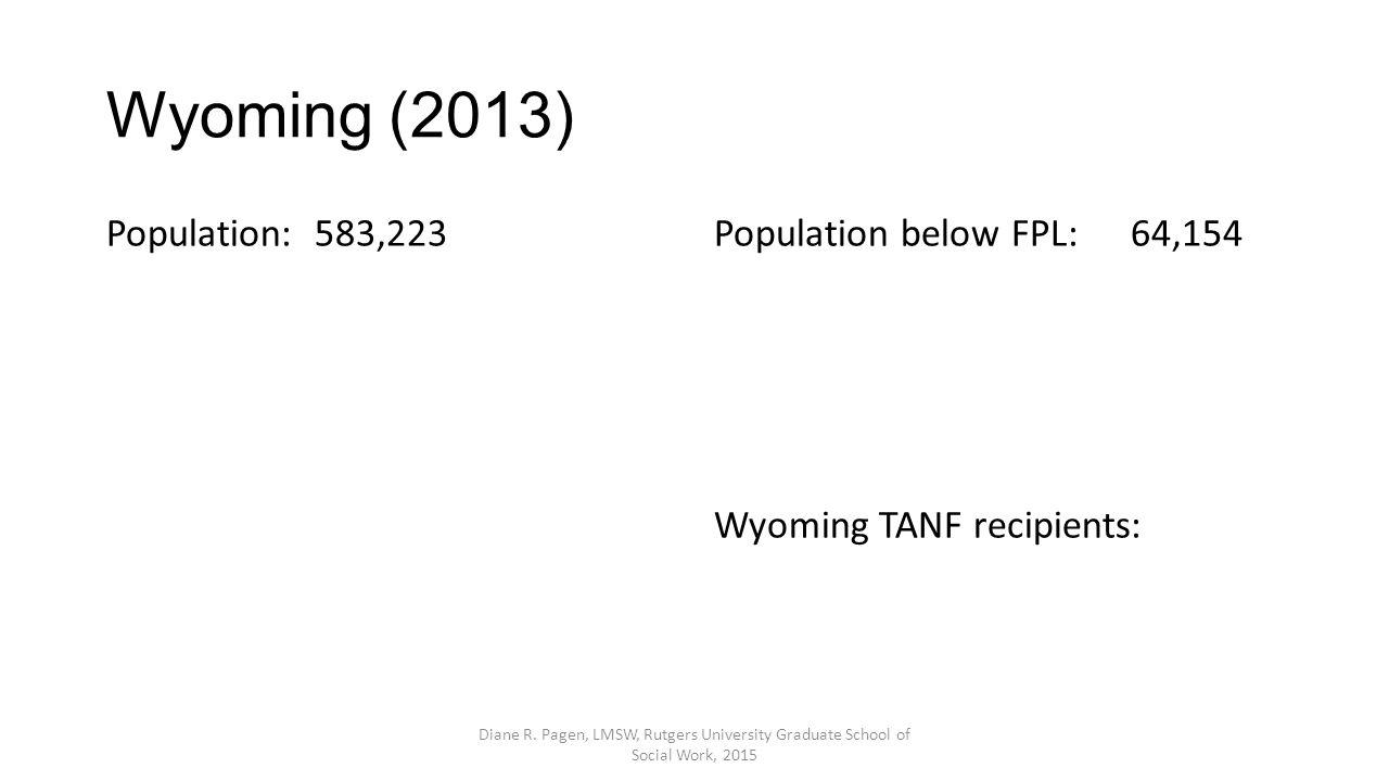 Wyoming (2013) Population:583,223Population below FPL:64,154 Wyoming TANF recipients: Diane R.