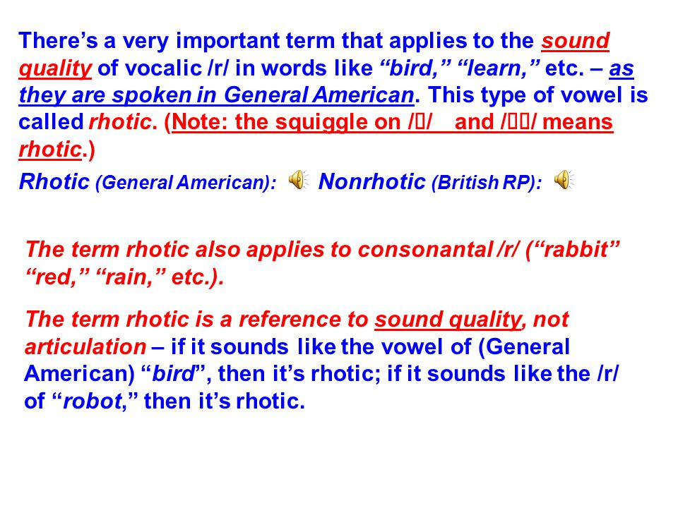There's a very important term that applies to the sound quality of vocalic /r/ in words like bird, learn, etc.