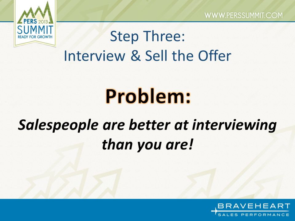 Salespeople are better at interviewing than you are! Step Three: Interview & Sell the Offer