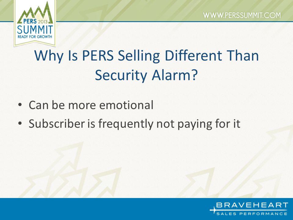 Why Is PERS Selling Different Than Security Alarm.
