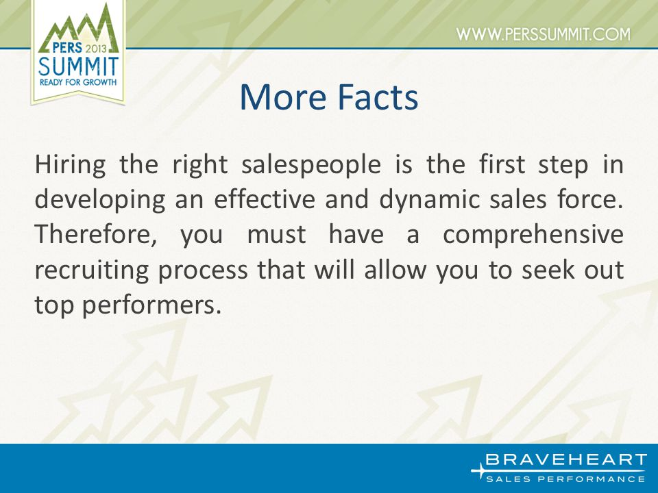 More Facts Hiring the right salespeople is the first step in developing an effective and dynamic sales force.