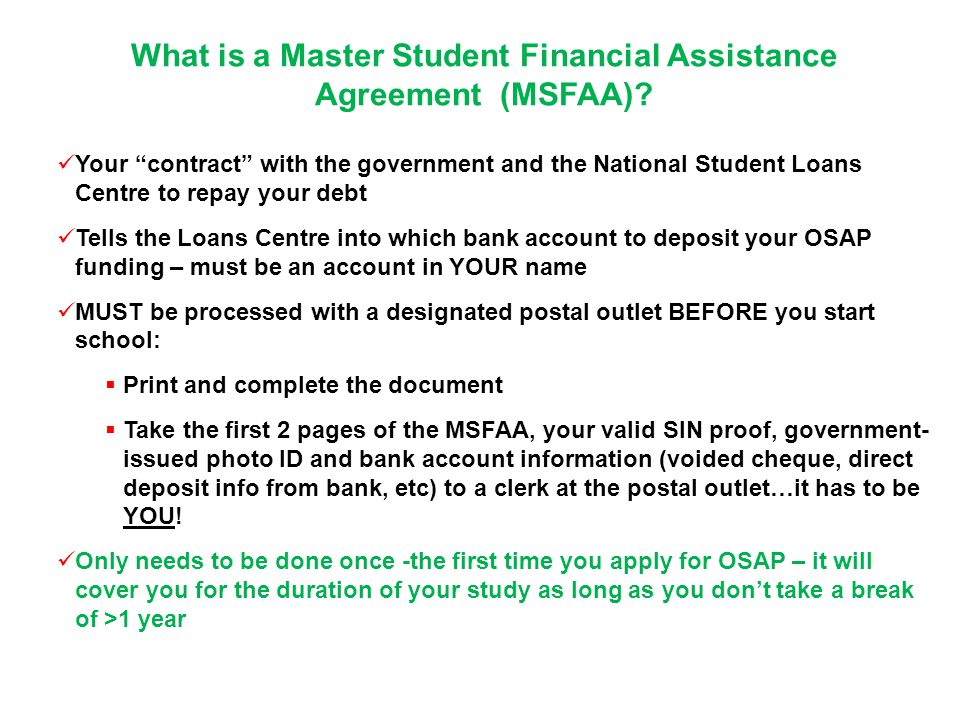 What is a Master Student Financial Assistance Agreement (MSFAA).