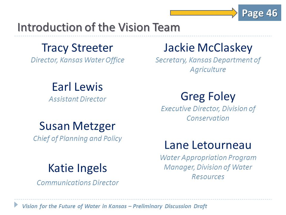 Introduction of the Vision Team Tracy Streeter Director, Kansas Water Office Earl Lewis Assistant Director Susan Metzger Chief of Planning and Policy