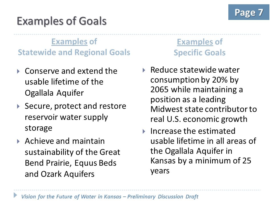 Vision for the Future of Water in Kansas – Preliminary Discussion Draft Page 7 Examples of Goals Examples of Statewide and Regional Goals Examples of