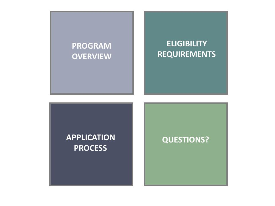 PROGRAM OVERVIEW ELIGIBILITY REQUIREMENTS APPLICATION PROCESS QUESTIONS