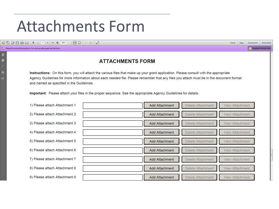 Attachments Form
