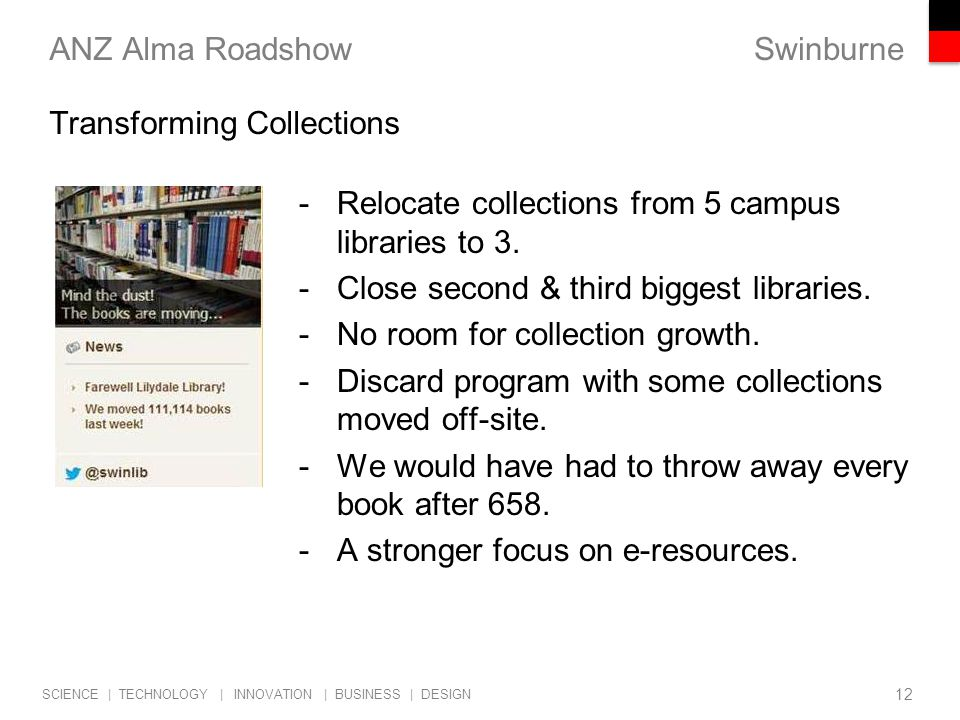 Swinburne SCIENCE | TECHNOLOGY | INNOVATION | BUSINESS | DESIGN ANZ Alma Roadshow -Relocate collections from 5 campus libraries to 3.