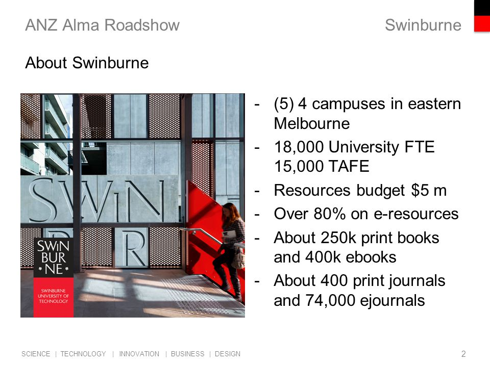 Swinburne SCIENCE | TECHNOLOGY | INNOVATION | BUSINESS | DESIGN ANZ Alma Roadshow -(5) 4 campuses in eastern Melbourne -18,000 University FTE 15,000 TAFE -Resources budget $5 m -Over 80% on e-resources -About 250k print books and 400k ebooks -About 400 print journals and 74,000 ejournals 2 About Swinburne