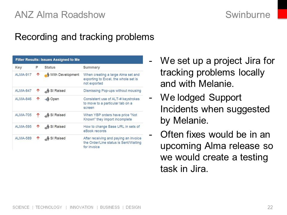 Swinburne SCIENCE | TECHNOLOGY | INNOVATION | BUSINESS | DESIGN ANZ Alma Roadshow -We set up a project Jira for tracking problems locally and with Melanie.