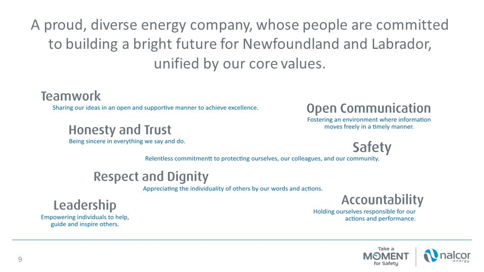 A proud, diverse energy company, whose people are committed to building a bright future for Newfoundland and Labrador, unified by our core values. 9