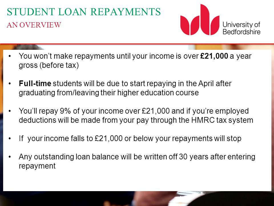 STUDENT LOAN REPAYMENTS AN OVERVIEW You won't make repayments until your income is over £21,000 a year gross (before tax) Full-time students will be due to start repaying in the April after graduating from/leaving their higher education course You'll repay 9% of your income over £21,000 and if you're employed deductions will be made from your pay through the HMRC tax system If your income falls to £21,000 or below your repayments will stop Any outstanding loan balance will be written off 30 years after entering repayment