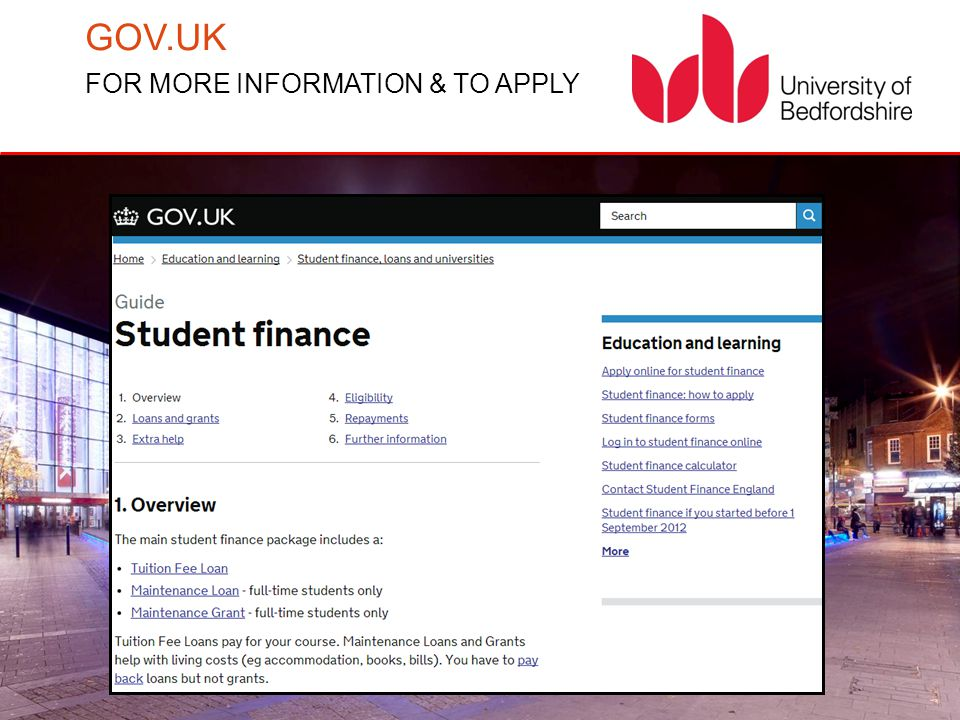 GOV.UK FOR MORE INFORMATION & TO APPLY