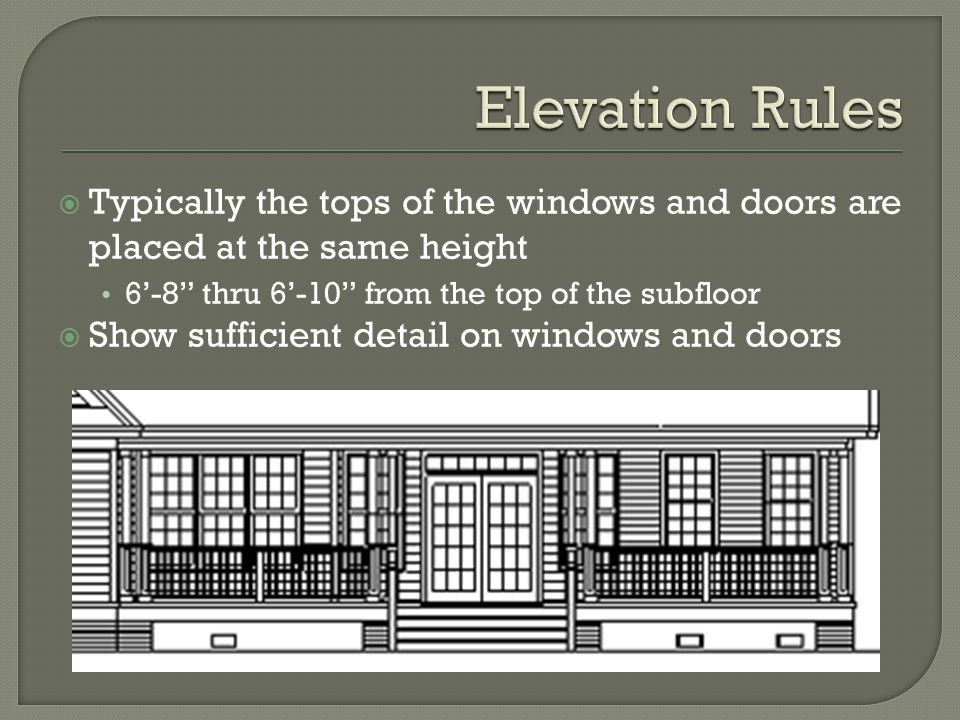" Typically the tops of the windows and doors are placed at the same height 6'-8"" thru 6'-10"" from the top of the subfloor  Show sufficient detail on"