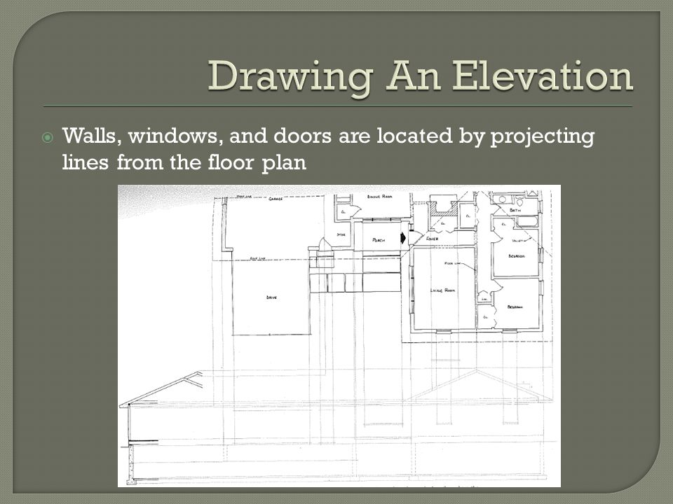  Walls, windows, and doors are located by projecting lines from the floor plan