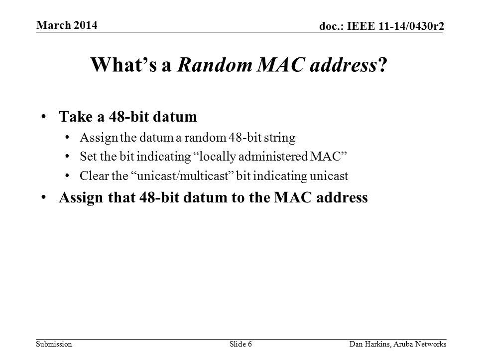 Submission doc.: IEEE 11-14/0430r2 Obvious Question #1 Whaddya mean random.