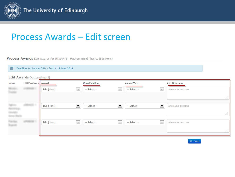 Process Awards – Edit screen