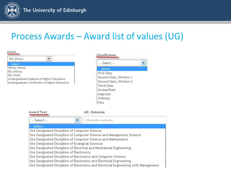 Process Awards – Award list of values (UG)