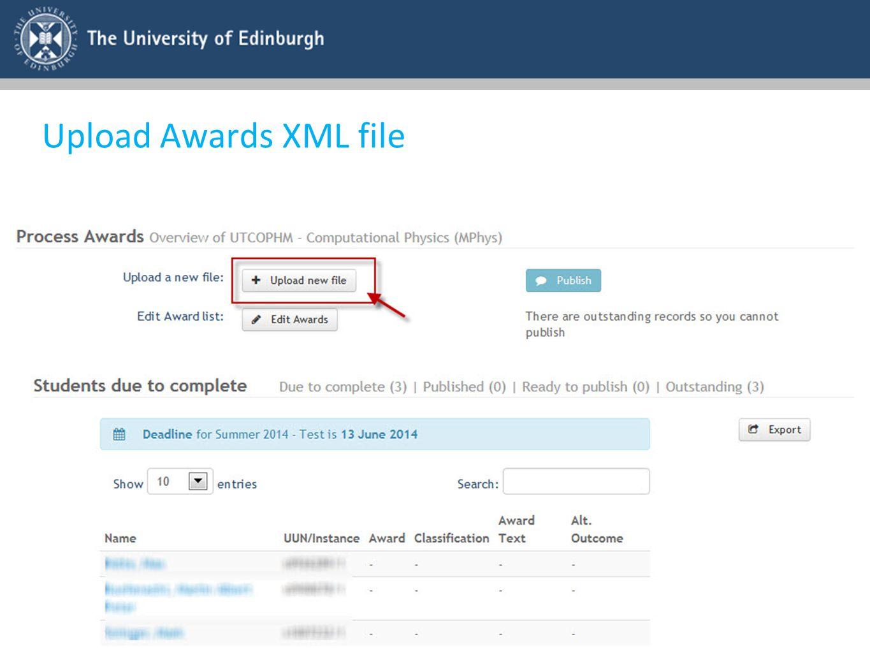 Upload Awards XML file