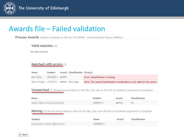 Awards file – Failed validation