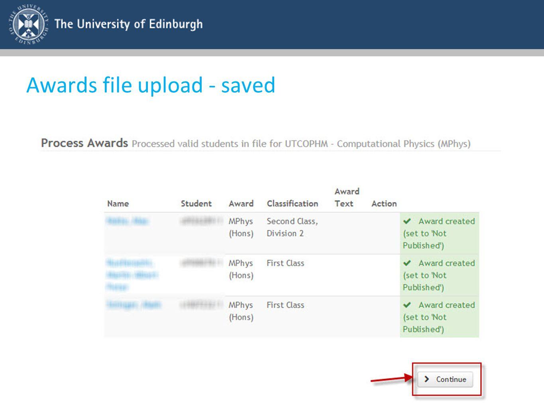 Awards file upload - saved