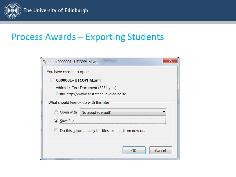 Process Awards – Exporting Students