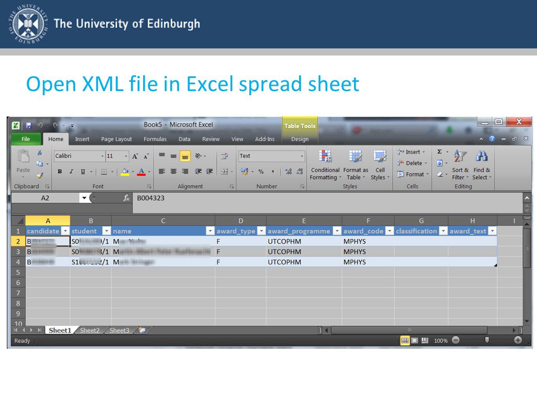 Open XML file in Excel spread sheet